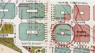 Plaza de toros sobre un plano de San Sebastián de 1882 en donde se ven los antiguos caminos y construcciones